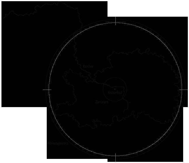 Der Ostalbkreis mit dem Fluß Kocher und dem Koiser im Zentrum