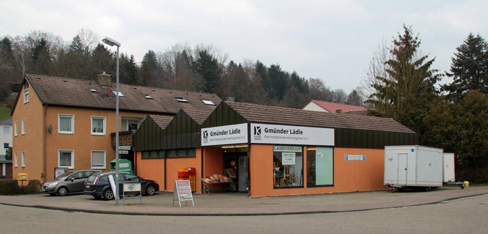 Kochergarten-Schilder am Gmünder Lädle in Schwäbisch Gmünd